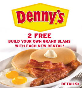 Denny's Offer: 2 free Grand Slams with each new rental